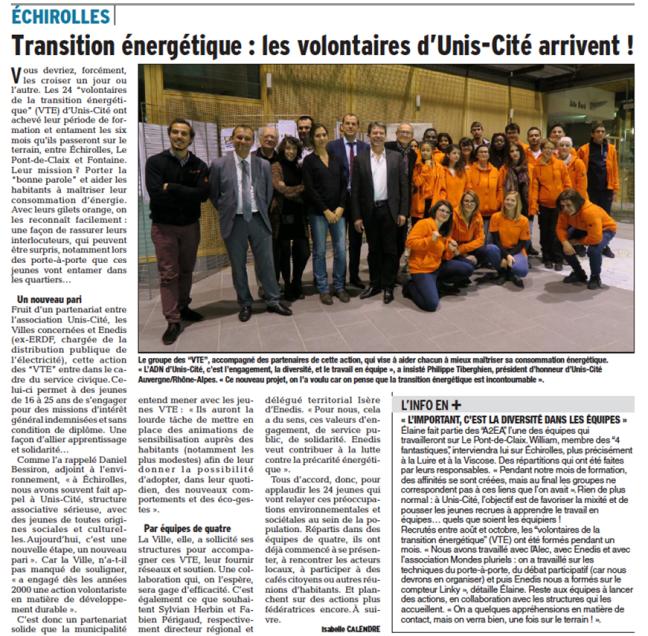 L'article du Dauphiné Libéré sur la soirée de lancement des VTE, le 23 novembre 2016.