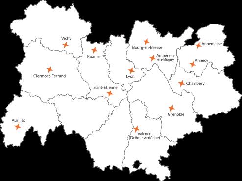 Carte des implantations d'Unis-Cité Auvergne-Rhône-Alpes à la rentrée 2018.